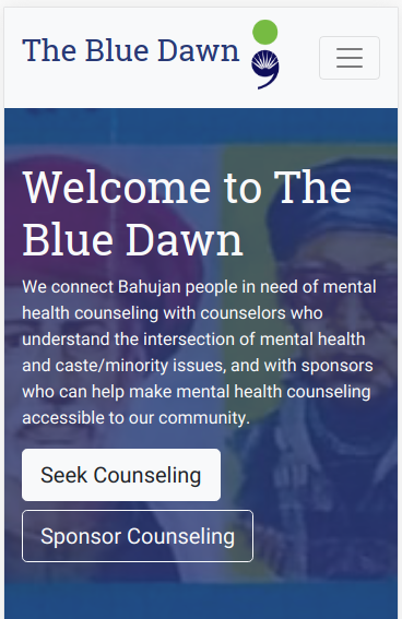 A screenshot of TheBlueDawn.org's top section showing the site's title and a brief description with two buttons to get started, overlaid over an image of Bahujan leaders