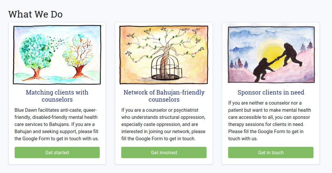 A screenshot of TheBlueDawn.org's section titled 'What We Do' showing three cards with brief explanations for matching people with good counselors, building the network of caste-aware counselors, and sponsoring counseling sessions for others